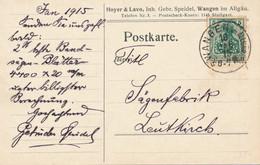 WANGEN  -  1915  ,  Perfins / Firmenlochung  - Hoyer & Lavo  GEBR. SPEIDEL  -  Karte Nach Leutkirch - Briefe U. Dokumente