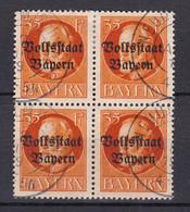Bayern - 1919 - Michel Nr. 134 A K2 Viererblock - Gestempelt - 30 Euro - Bayern