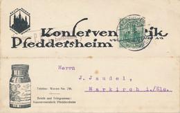 PFEDDERSHEIM  -  1916  ,  Perfins / Firmenlochung  - JOH. BRAUN  Konservenfabrik  -  Karte Nach Markirch / Els. - Briefe U. Dokumente