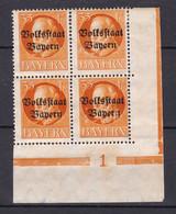 Bayern - 1919 - Michel Nr. 134 A Viererblock Pl.-Nr. 1 - Postfrisch/Ungebr. - 100 Euro - Bayern