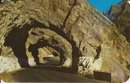 Yellowstone Park, Wyoming, USA TRIPLE TUNNELS ON CODY WAY. Pub. By Sanborn Souvenir Co 67099. Color Made By Dexter Press - Yellowstone