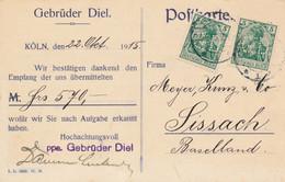 KÖLN  - 1915 ,  Perfins / Firmenlochung  - GEBRÜDER DIEL  -  Karte Nach Sissach / CH - Briefe U. Dokumente