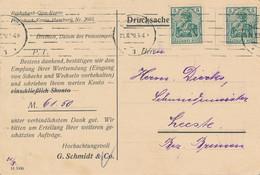 BREMEN  - 1900 ,  Perfins / Firmenlochung  - G. SCHMIDT & Co.  Eisen- U. Metall  -  Karte Nach Leeste / Bremen - Briefe U. Dokumente