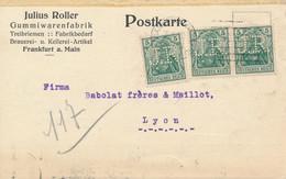 FRANKFURT / M  - 1920 ,  Perfins / Firmenlochung  -  JULIUS ROLLER  Gummiwarenfabrik  -  Karte Nach Lyon / FR - Briefe U. Dokumente