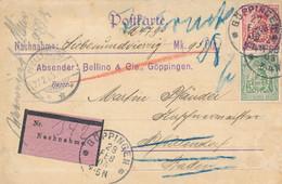 GÖPPINGEN  - 1905 ,  Perfins / Firmenlochung  -  BELLINO & Cie.  Emaillir- & Stanzwerke  -  Karte Nach Pfullendorf - Briefe U. Dokumente