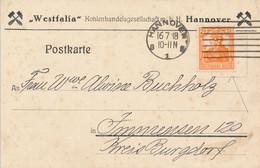 HANNOVER  - 1918 ,  Perfins / Firmenlochung  -  WESTFALIA  Kohlenhandelsgesellschaft  -  Karte Nach Immensen - Briefe U. Dokumente