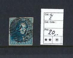 Belgique. N°2 Médaillon 20c.   N°24 - 1858-1862 Medallions (9/12)