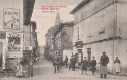 """CPA (81) LISLE SUR TARN N° 2 La Grande Rue Publicité Murale Café KNEIPP Liqueur """"Vieille Cure""""  2 Scans - Lisle Sur Tarn"""