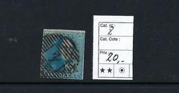Belgique. N°2 Médaillon 20c.   N°4 - 1858-1862 Medallions (9/12)
