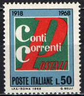 ITALIA - 1968 - CINQUANTENARIO DEL SERVIZIO DEI CONTI CORRENTI POSTALI - MNH - 1961-70: Ungebraucht