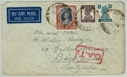 Indien / India 1945, Luftpostbrief Clutterbuckganj - Biel (Schweiz), O.A.T. - 1936-47 King George VI