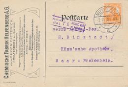 NIEDERPOYRITZ  - 1918 ,  Perfins / Firmenlochung  -  EUGEN DIETERICH  Chemische Fabrik  -  Karte Nach Saar-Buckenheim - Briefe U. Dokumente