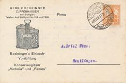 ZUFFENHAUSEN  - 1917 ,  Perfins / Firmenlochung  -  GEBR. BOERINGER  -  Karte Nach Reutlingen - Briefe U. Dokumente