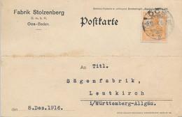 OOS-BADEN - 1916 ,  Perfins / Firmenlochung  -  FABRIK STOLZENBERG  -  Karte Nach Leutkirch - Briefe U. Dokumente