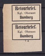 Bayern - Retourmarken - Bamberg Paar Ecke - Ungebr. - 120 Euro - Bayern