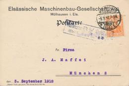 MÜLHAUSEN  - 1918  ,  Perfins / Firmenlochung  -  ELSÄSSISCHE MASCHINENBAU-GESELLSCHAFT  -  Karte Nach München - Briefe U. Dokumente