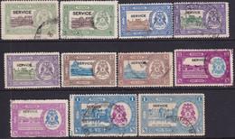 INDIA BHOPAL 1936-49 SG #O336-41 Used Set With Many Unlisted Colour Vars CV £57+ - Bhopal