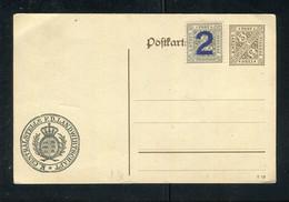 """Wuerttemberg / Postkarte (incl. Zusatzfrankatur) Mit Zudruck """"CENTRALSTELLE F.D. LANDWIRTSCHAFT"""" (5158) - Wuerttemberg"""