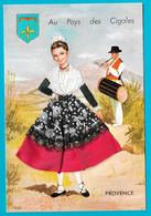 Carte Brodée Folklore Pays Des Cigales Provence - Ricamate
