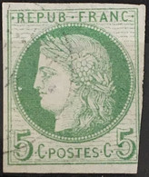 Colonies Françaises YT 17 Fond Ligné (°) Obl 1872-77 Ceres 5c Vert (côte 11 Euros) – Amscol2 - Ceres