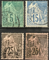 Colonies Françaises Alphée Dubois YT 49 51 54 54 (°) Oblitéré 1881 (côte 12 Euros) – Kdomi - Alphee Dubois