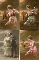 4 Oude Verschillende Ongelopen Kaarten - Meisje Met Vis - Girl With A Fish - 1er Avril              WOM6 - 1 De April (pescado De Abril)