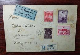 Yugoslavia 1939 Air Mail R-letter Sarajevo - Lviv (Lwow), Stamps Aircraft - Briefe U. Dokumente