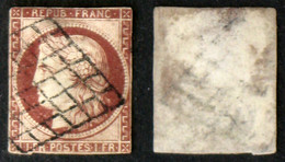 N° 6 1F CERES Carmin T Déf. Oblit Cote 1000€ - 1849-1850 Ceres