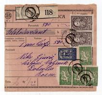 1920. PARCEL CARD,KINGDOM OF SHS,SLOVENIA,ŽIRI TO BOSNIA,CHAINBREAKERS,VERIGARI - Briefe U. Dokumente