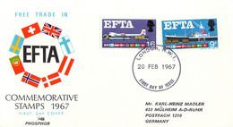 Great Britain Phosphor FDC 1967 EFTA (DD33-15) - 1952-1971 Dezimalausgaben (Vorläufer)
