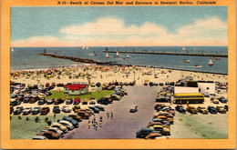 California Corona Del Mar The Beach And Entrance To Newport Harbor Curteich - Other