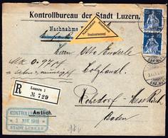 Switzerland Luzern 1910 / Kontrollbureau, Nachname, R / Sitting Helvetia 25 / Sent To Rohrdorf - Lettres & Documents
