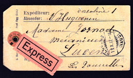 Switzerland Lucens 1917 / Post Express / Sitting Helvetia 35 / Sent To Lausanne - Lettres & Documents