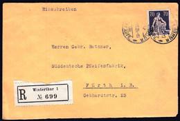 Switzerland Winterthur 1925 / Sitting Helvetia 70 / Sent To Furth - Lettres & Documents