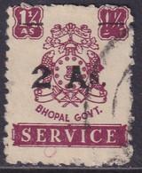 INDIA BHOPAL 1949 SG #O356 2a On 1½a Used CV £11 - Bhopal