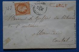AE1 FRANCE  BELLE LETTRE  1862 CLERMONT  POUR MAURIERE+ CHARGE +AFFRANCH. INTERESSANT - 1862 Napoléon III.