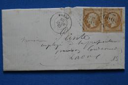 AE1 FRANCE  BELLE LETTRE  1867  VRALE  POUR  LAON +PAIRE TP  +AFFRANCH. INTERESSANT - 1862 Napoléon III.