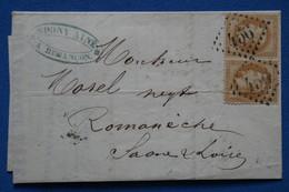 AE1 FRANCE  BELLE LETTRE  1871  BESANCON  POUR  ROMANECHE +PAIRE TP  +AFFRANCH. INTERESSANT - 1863-1870 Napoléon III. Laure