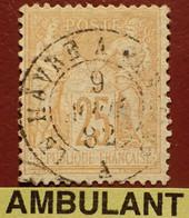 """R1311/1175 - SAGE TYPE II N°92 - Cachet AMBULANT """" Le Havre à PARIS A """" Du 9 AOÛT 1882 - 1876-1898 Sage (Type II)"""