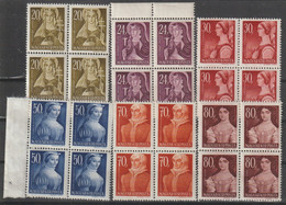 Hungary 1944 Famous Hungarian Women Blocks Of Four MiNr 754-759 MNH B211015 - Ungebraucht