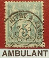 """R1311/1179 - SAGE TYPE II N°75f Vert Sur Verdâtre - Cachet AMBULANT """" GIVET à PARIS B """" Du 12 AOÛT 1895 - 1876-1898 Sage (Type II)"""