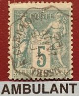 """R1311/1180 - SAGE TYPE II N°75 - Cachet AMBULANT """" USSEL à CLERMONT """" Du 15 JANVIER 1896 - 1876-1898 Sage (Type II)"""