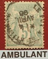 """R1311/1181 - SAGE TYPE II N°75 - Cachet AMBULANT """" LE PUY à ST ETIENNE """" Du 4 AVRIL 1896 - 1876-1898 Sage (Type II)"""