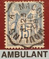 "R1311/1182 - SAGE TYPE II N°90 - Cachet AMBULANT "" MOULINS à MACON "" Du 23 JUILLET 1898 - 1876-1898 Sage (Type II)"
