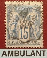 "R1311/1183 - SAGE TYPE II N°90 - Cachet AMBULANT "" TROYES à CHÂLONS "" Du 12 JUIN 1891 - 1876-1898 Sage (Type II)"