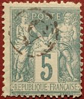 """R1311/1187 - SAGE TYPE II N°75 - Cachet Du Jour De L'an : """" 5 """" Dans Un Cercle - 1876-1898 Sage (Type II)"""