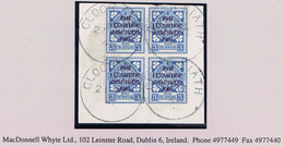 Ireland 1941 Rising Overprint 3d (provisional), Block Of 4 Fresh Used On Piece CLOCH LIATH 21 VI 41 Cds Of Greystones - Used Stamps