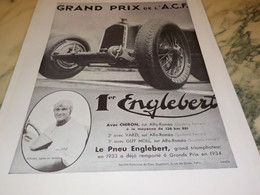 ANCIENNE PUBLICITE PNEU ENGLEBERT GRAND PRIX ACF 1934 - Other