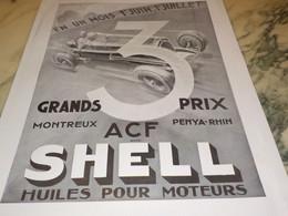 ANCIENNE PUBLICITE GRAND PRIX ACF  HUILE SHELL  1934 - Sonstige