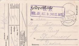 Feldpostkarte - Res. Inf. Rgt. 240 - Nach Pfaffendorf - 1918 (58102) - Covers & Documents